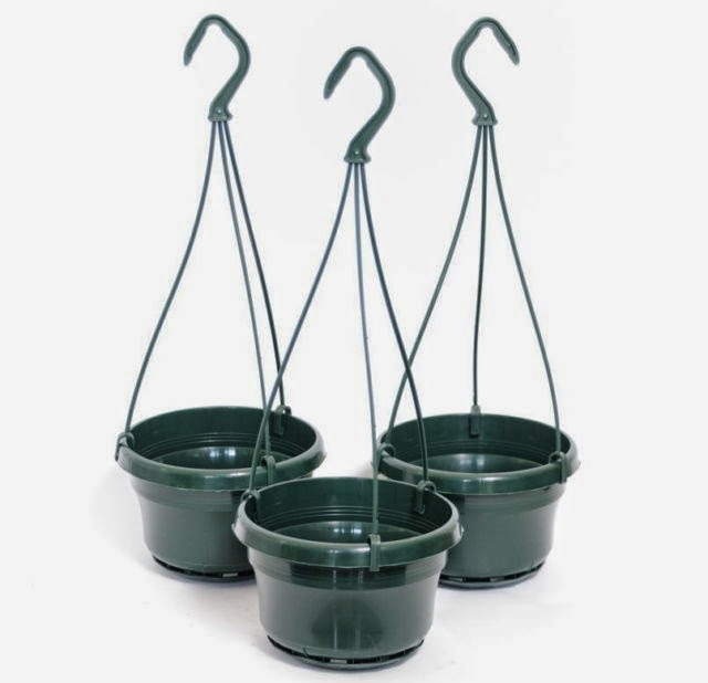 Gray Hanging Basket with Hanger and Drip Tray.